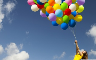 Girl with Ballons wallpapers and stock photos
