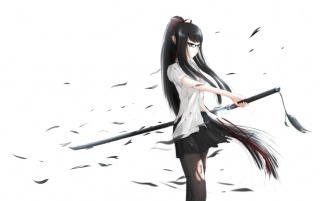 Anime Girl with Katana Sword wallpapers and stock photos