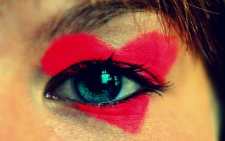 Red Heart Women's Eye Make-up wallpapers and stock photos