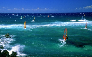 Windsurfers Maui wallpapers and stock photos