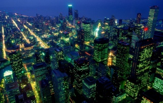 Al caer la noche en Chicago wallpapers and stock photos