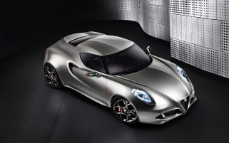 Silver Alfa Romeo 4C Concept wallpapers and stock photos