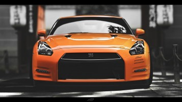 Orange Nissan Skyline GTR Front wallpapers and stock photos