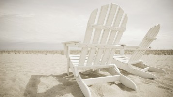 Sun Chairs on the Beach wallpapers and stock photos