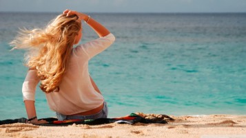 Blonde Girl at the Beach wallpapers and stock photos