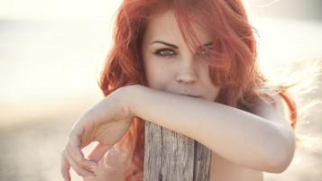 Redhead in Grey Light wallpapers and stock photos
