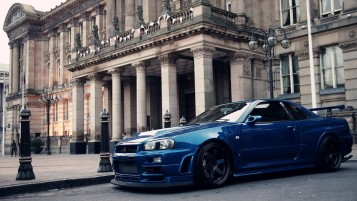 Blue Nissan Skyline wallpapers and stock photos