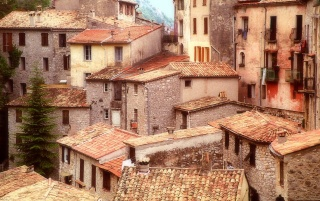 Ocher Rooftops Peille wallpapers and stock photos