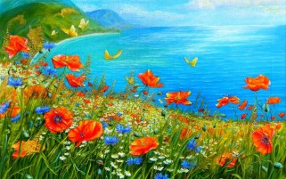 Summer Meadow & Sea wallpapers and stock photos