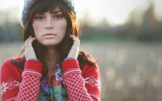 Random: Cute Girl in Knitted Sweater