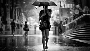 Girl in the Rain wallpapers and stock photos