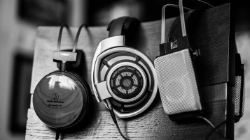 Headphones Black&White Photo wallpapers and stock photos