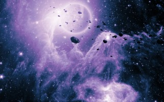 Purple Asteroids Nebula wallpapers and stock photos