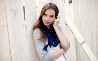 Cute Girl Wearing Blue Scarf wallpapers and stock photos