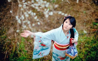 Girl in Kimono wallpapers and stock photos
