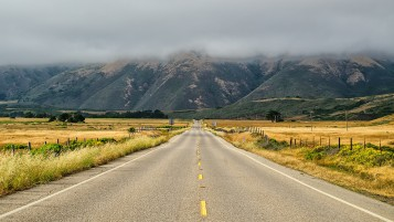 Road To Foggy Mountains wallpapers and stock photos