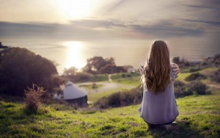 Girl whit Long Hair in a Beautiful Landscape wallpapers and stock photos