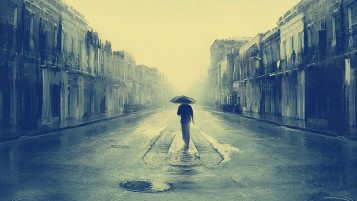 Man in the Rain Peinting wallpapers and stock photos