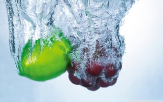 Fruits Dropped in Water wallpapers and stock photos
