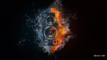 Bass Box Fire & Water wallpapers and stock photos