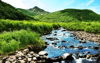 Mountain River Stones Grass wallpapers and stock photos