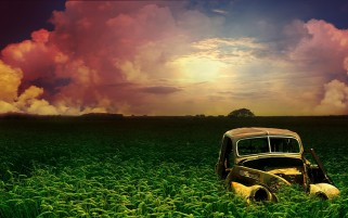 Random: Retro Car Field Pure Sky