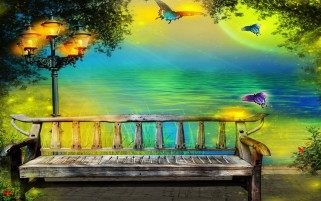 Bench Ocean Lights Butterflys wallpapers and stock photos