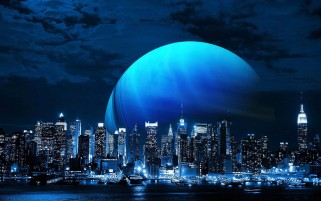 Amazing Blue Moon & City wallpapers and stock photos