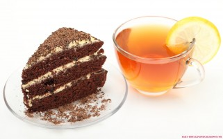 Chocolate Cake and Lemon Tea wallpapers and stock photos
