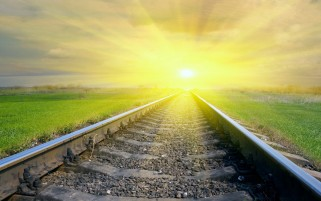 Blinded Sun & Rail Road Tracks wallpapers and stock photos