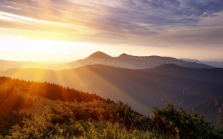 Sunlight Over Mountains wallpapers and stock photos