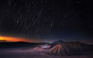 Star Rain Over Volcanos wallpapers and stock photos