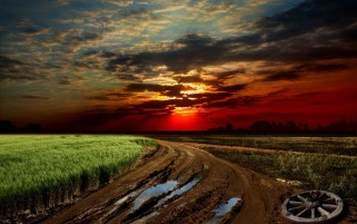 Dirty Road Field & Sunset wallpapers and stock photos