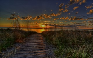 Beach Way Grass Sunset & Lake wallpapers and stock photos