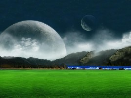 Moon & Green Field wallpapers and stock photos