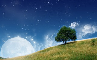 Random: Hill Tree Sky & Moon