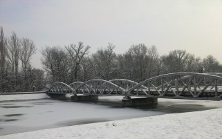 Winter Bridge & Trees wallpapers and stock photos
