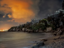 Night Beach Bay Cliffs Trees wallpapers and stock photos