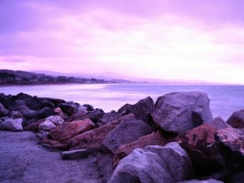 Purple Sky Ocean & Stones wallpapers and stock photos
