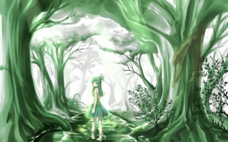 Green Anime Beauty Forest wallpapers and stock photos