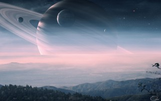 Digital Saturn Landscape wallpapers and stock photos