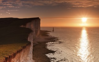 England Sunrise Cliffs & Ocean wallpapers and stock photos