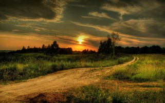 Sunset Road & Fields wallpapers and stock photos