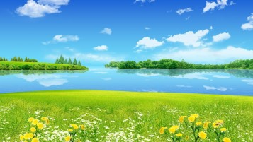 Summer Meadow Lake & Sky wallpapers and stock photos