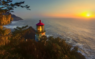 Light House Forest Ocean Sun wallpapers and stock photos