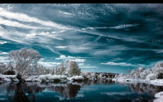 Sky River & Winter Forest wallpapers and stock photos