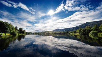Norway Fjord Sun Light Clouds wallpapers and stock photos