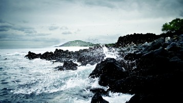 Ocean Splashes Rocks Shore wallpapers and stock photos