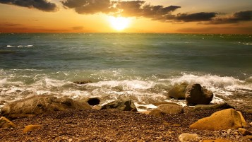 Sunset Clouds Sea Waves Stones wallpapers and stock photos