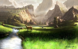 Mountains Grass River Deer wallpapers and stock photos